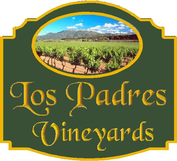 R27062 - Carved  Los Padres Vineyards Entrance Sign