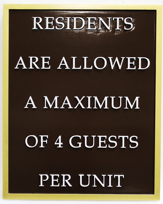 GB16347 - Carved Raised Text High-Density-Urethane (HDU)  Swimming Pool Rules Sign, for Maximum Guest
