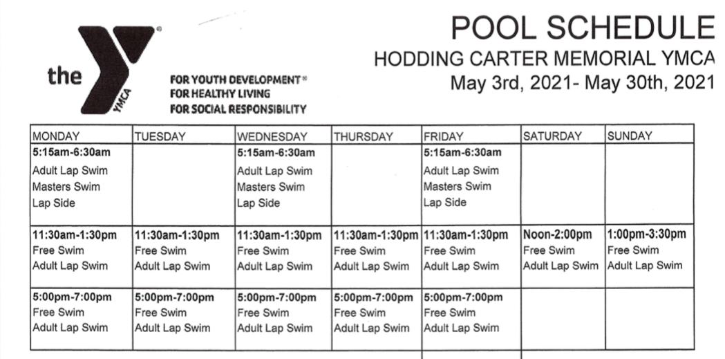 CLICK FOR PRINTABLE CURRENT POOL SCHEDULE