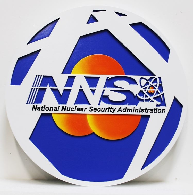 AP-6125 - Carved 2.5-D Multi-Level HDU Plaque of the Seal of the National Nuclear Security Administration (NNSA)