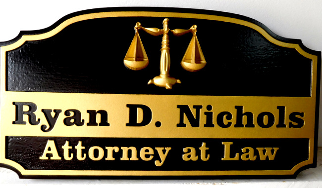 A10171 - Carved and Sandblasted Sign for Attorney, with 3-D Scales of Justice