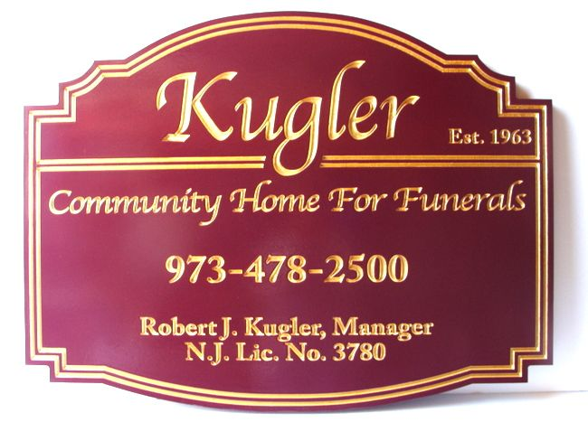 GC16106 - Carved Engraved  High-Density-Urethane (HDU) Entrance Sign  for the Kugler Community Home for Funerals, with 24K Gold-Gilded Text and Borders