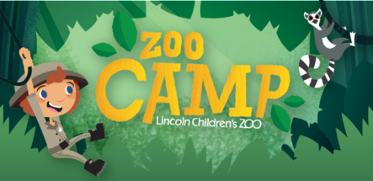 A cartoon enjoying the jungle with his lemur friend.  Give kids a summer adventure by joining a summer camp today!