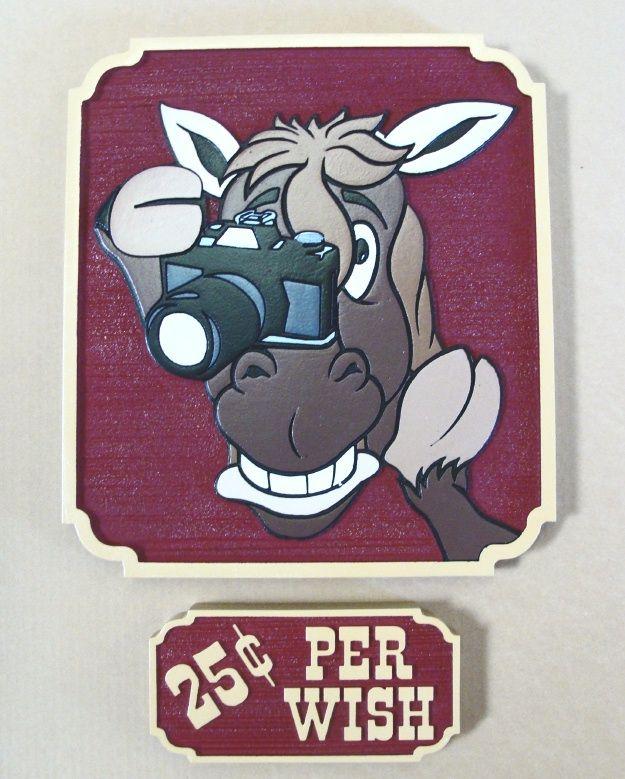 P25363 - Cartoon Sign of Horse Watching Horse Race