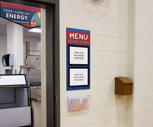School cafeteria menu board for elementary students in blue with 2 paper holders, custom signs