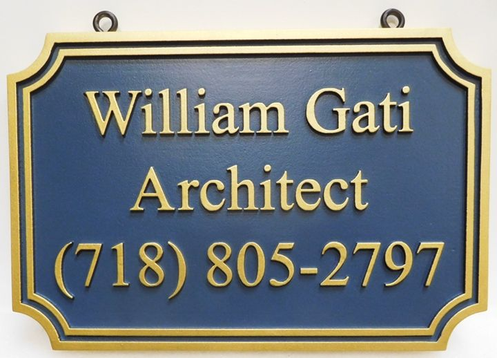 """SA28068 - Carved Hangoing Sign for the """"William Gati Architect"""" Business, 2.5-D"""