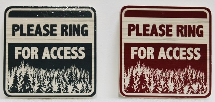 "M22129 -  Carved and Sandblasted Wood Grain 2.5-D HDU Sign ""Please Ring for Access"", with Grove of Evergreen Trees as Artwork"