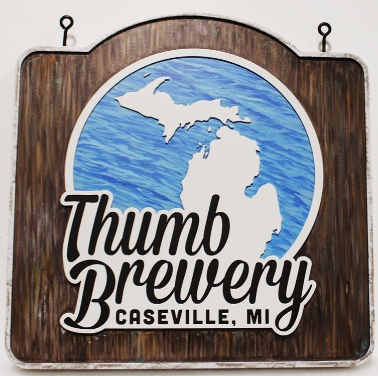 RB27700 - Carved 2.5-D Sign  for the Thumb Brewery in Caseville, Michigan, with the State Map of Michigan as Artwork