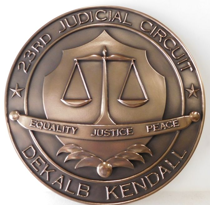 GP-1100 - Carved Plaque of the Seal of the State of Illinois Circuit Court, Bronze Metal Plated