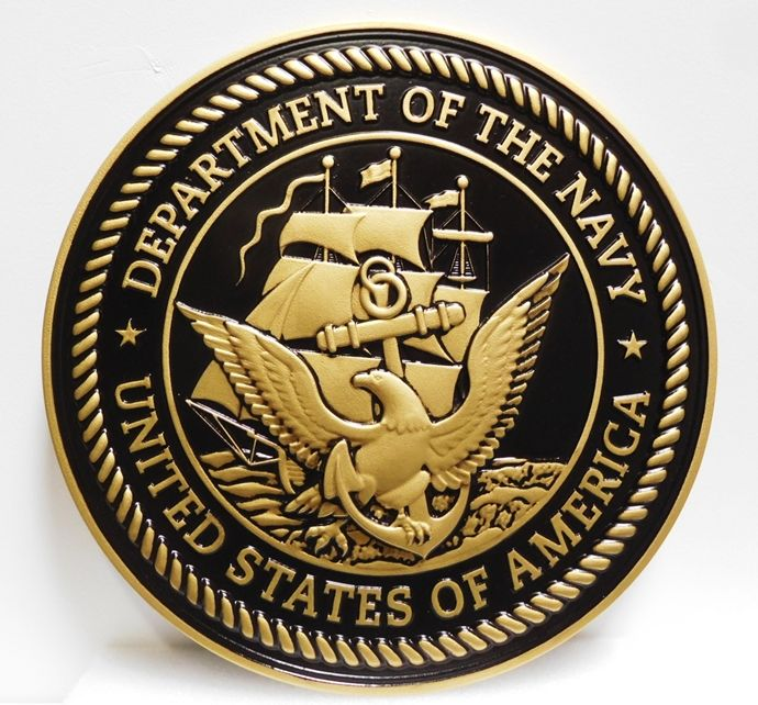 JP-1110 - Carved Plaque of the Great Seal of the US Navy, 3-D Painted Metallic Brass with Hand-rubbed Black Paint
