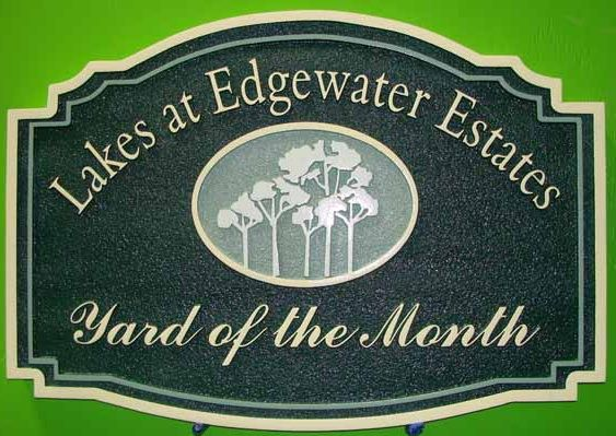 "KA20945 - All-Weather HDU Yard-of-the-Month Sign for the""Lakes at Edgewater Estates"" HOA,  with Carved Trees as Artwork"