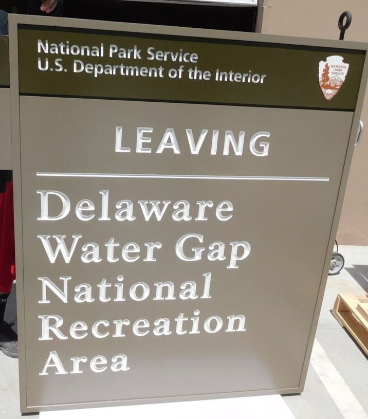 G16024- Carved  Cedar Wood Hanging  Entrance/Exit  Signs for the Delaware Water Gap National Recreational Area (DEWA),