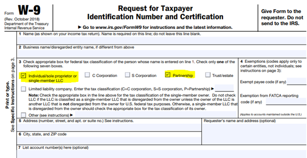 W-9 Sample Image for form 1099 Purposes