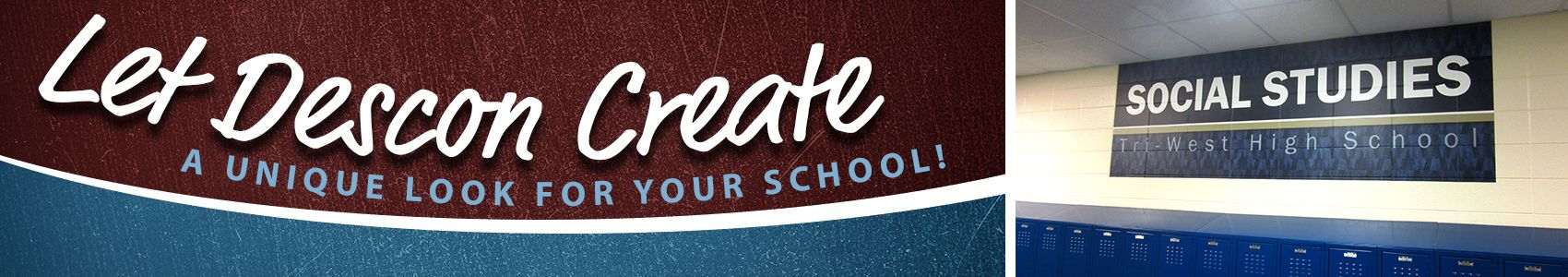 School wall graphics example, hallway example above lockers, custom graphics signage company