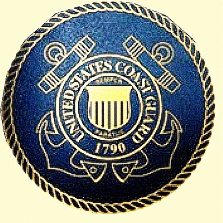 NP-1280 - Engraved Plaque  of the Great Seal of the US Coast Guard, 2.5-D Engraved Relief, Artist Painted