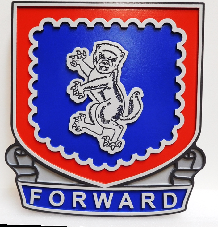 "MP-2072 -  Carved Plaque of Crest of US Army 340th Regiment Advanced Individual Training Unit  with Slogan ""Forward"", Artist-Painted"