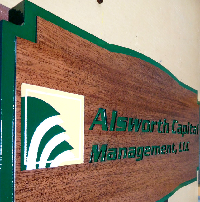 C12018 - Carved Mahogany Indoor Sign for a Capital Management Company (side view)
