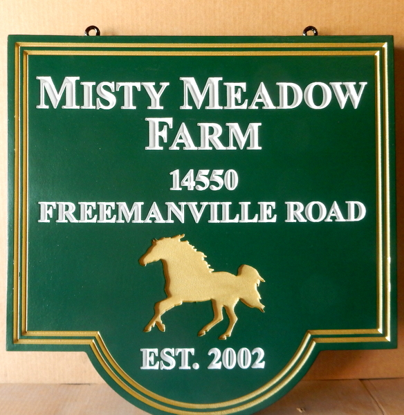 "P25172 - Carved HDU Entrance Address Sign for "" Misty Meadow Farm"", with golden engraved Horse"