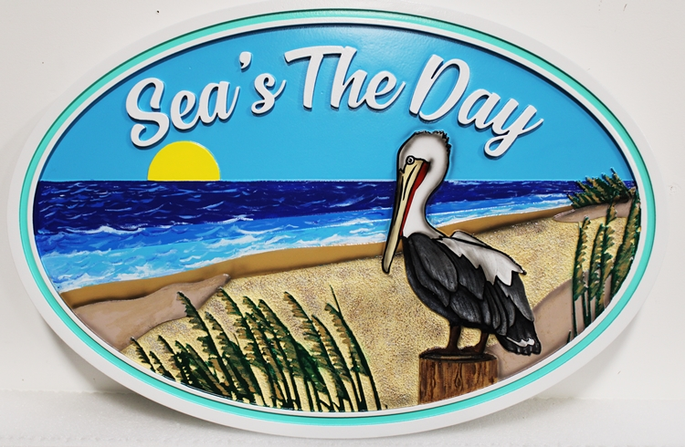 L21072 --Carved Coastal Home Sign, with Pelican, a Beach, and SettingbSun over the Ocean as Artwork