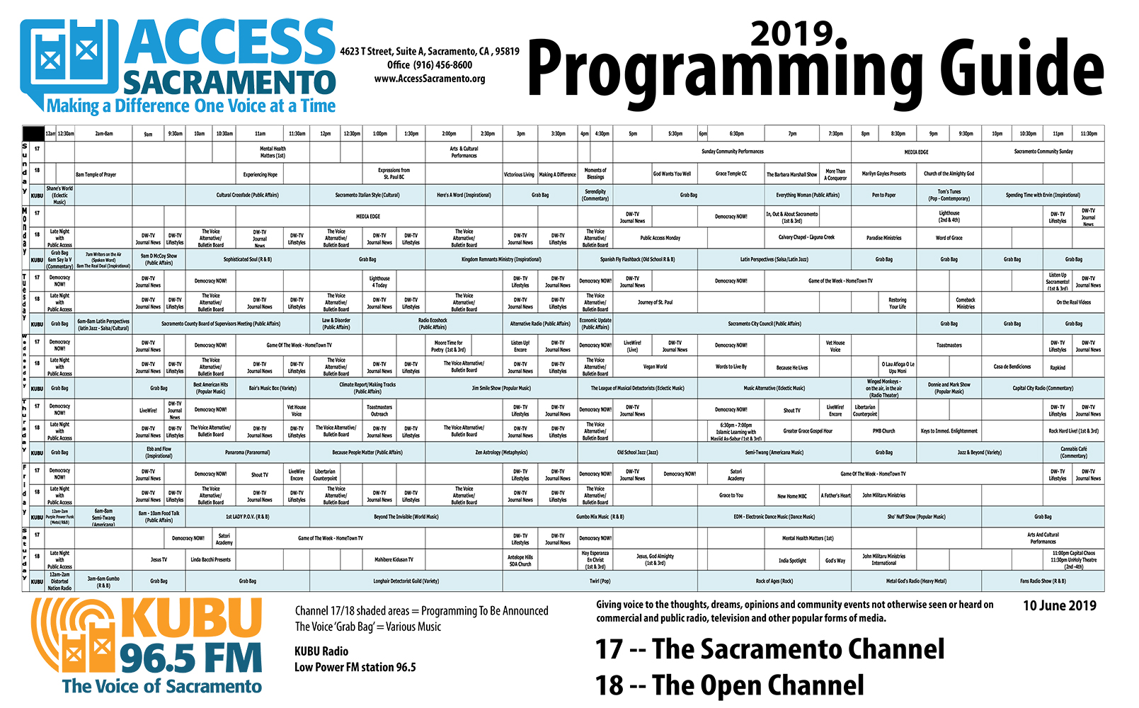 Programming Schedule (Color Version - download)
