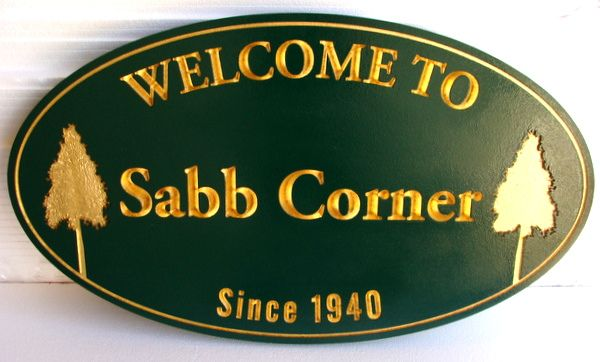 "K20136 Engraved ""Sabb Corner"" Residential Community Entrance Sign, wirh 24K Gold Leaf on Text and Two Pine Trees as  Artwork"