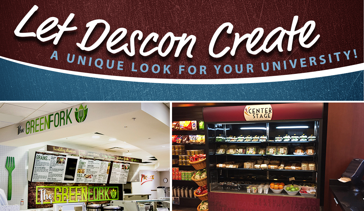 Custom signs and graphics display completed at universities, menu boards, signage company