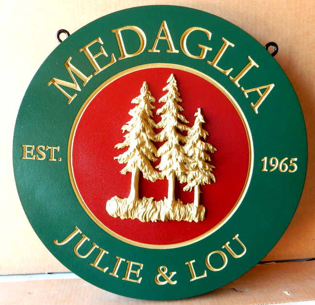 M22052 - Mountain Residence Name Sign (Round)  with 3-D Pine Trees