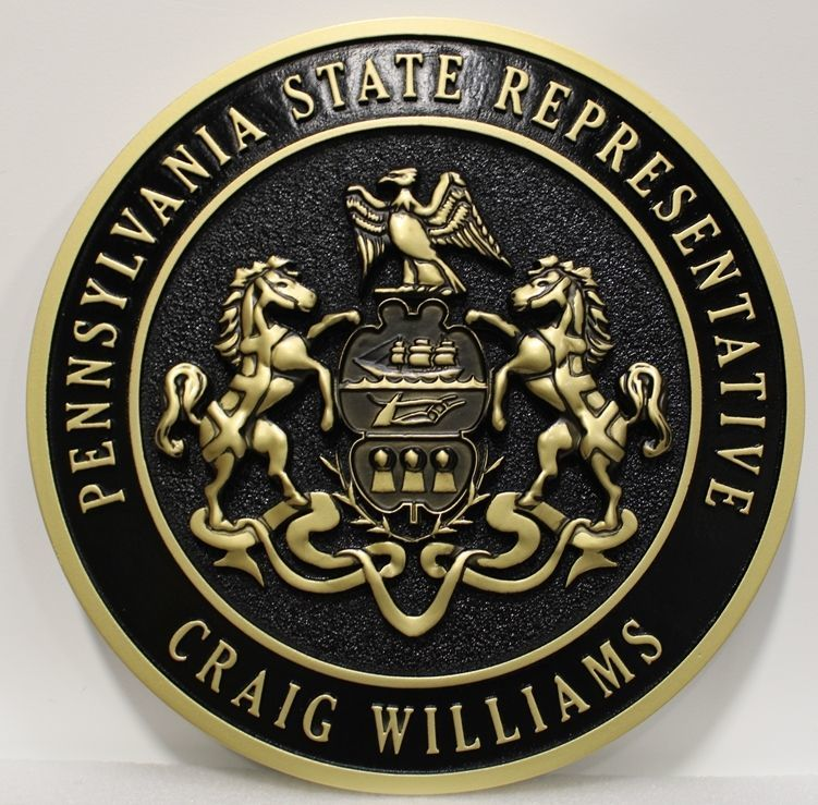 BP-1480 - Carved 3-D HDU Plaque Great Seal of the State of Pennsylvania for  State Representative