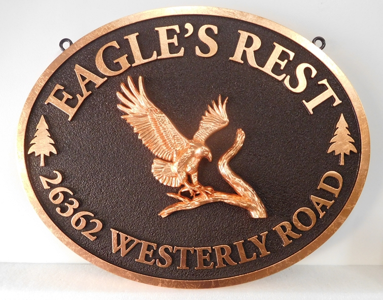 "M22727 - ""Eagle's Rest"" Residence Asddress Sign, with Eagle and Text Gilded with 24K Gold Leaf"