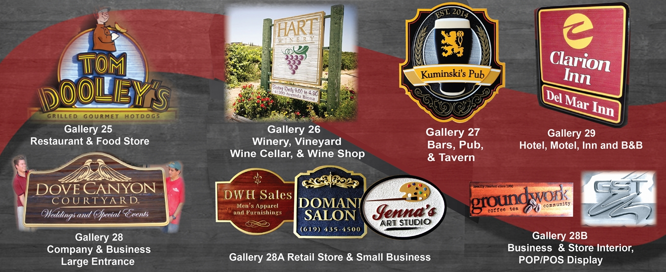 Signs for Restaurants, Wineries, Pubs, taverns, Retail Stores, Businesses, Companies, Hotels, Inns and B&Bs