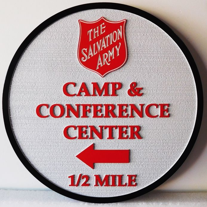 G16334 - Carved  HDU Directional Sign for the Salvation Army Camp & Conference Center.