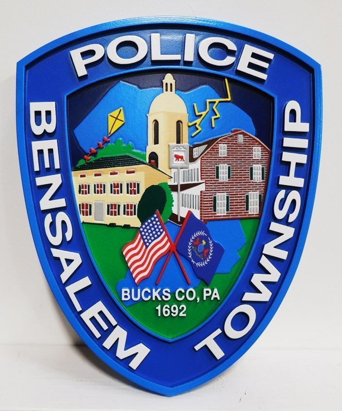 X33723 - Carved 2.5-D HDU plaque of the Shoulder Patch of the Police Department of Bensalem Township, Bucks County, Pennsylvania