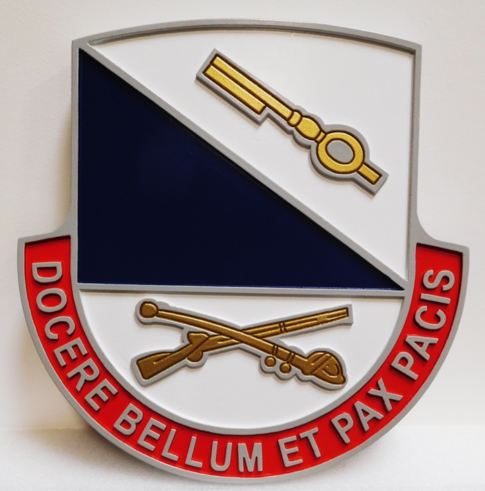 "MP-2073 - Carved Plaque of the Crest  of the US  Army 181st Infantry Brigade  with Slogan "" Docere Bellum Et Pax Pacis""  or ""Win War and Peace"",  Artist-Painted"