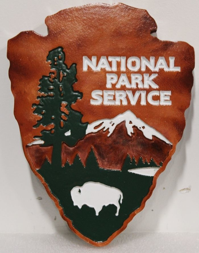 """AP-5661 - Carved Engraved HDU Plaque of the """"Arrowhead"""" Logo of the US National Park Service"""
