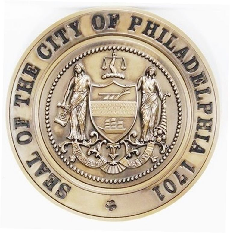 X33256 - Carved 3-D Brass-Plated plaque of the seal of City of Philadelphia