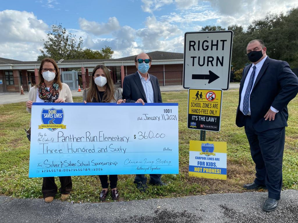 Dori Saves Lives School Sign Saftey Partner Prgram Check Presentation To Panther Run Elementary