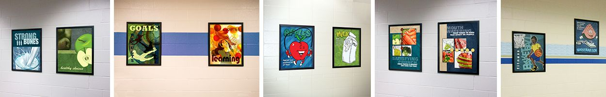 5 images of school posters, food images, school signs, nutrition education, custom signs
