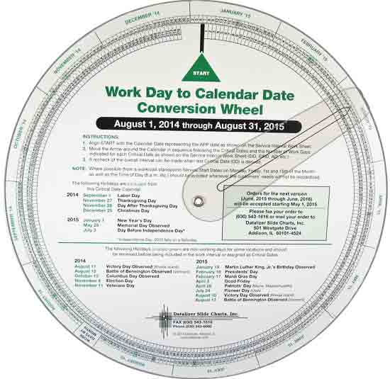 "9-1/2"" Work Day to Calendar Date Conversion Wheel"