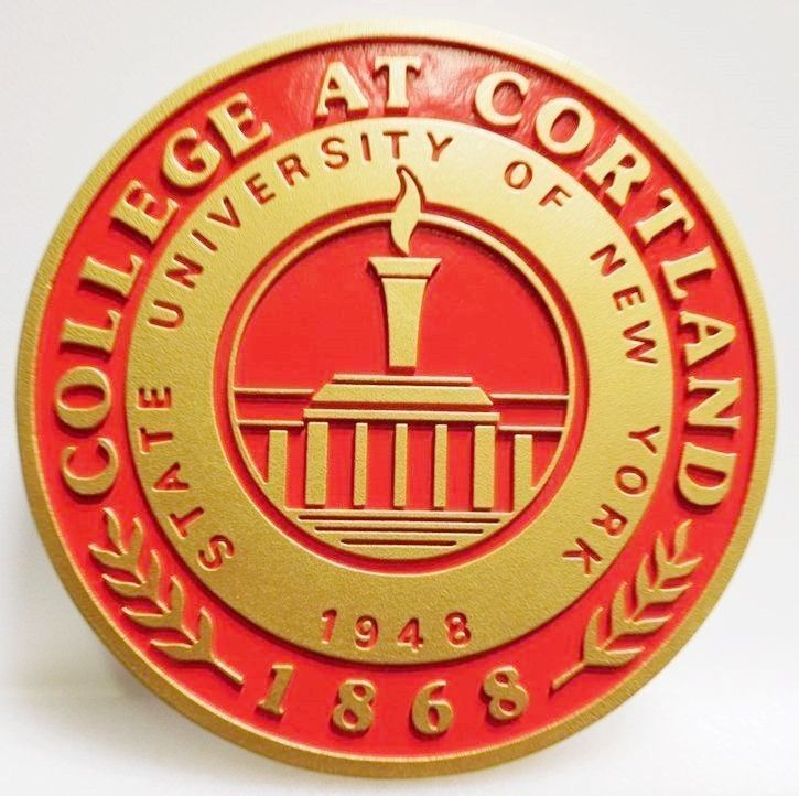 Y34323 - Carved 2.5-D Plaque of the Seal for the College at Cortland , State University of New York
