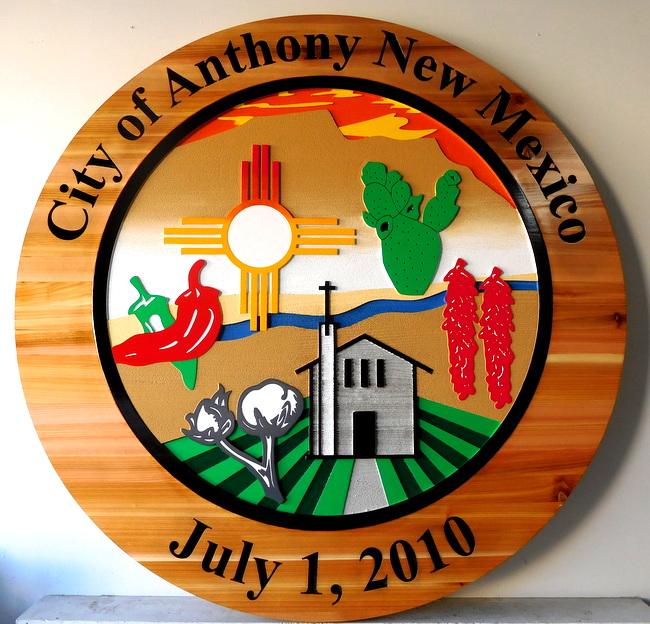 M3040 - Carved Cedar Wood Sign/Plaque for City of Anthony, New Mexico, Church, Sun, Peppers, Cotton and Cactus (Gallery 33)