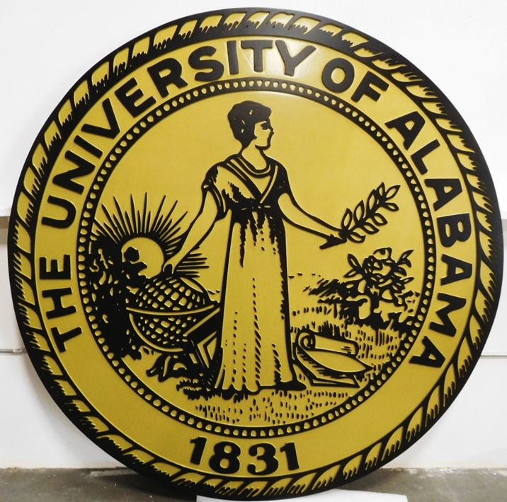 RP-1250 - Carved Plaque of the Seal of the University of Alabama, 2.5-D Raised Outline Relief, Artist-Painted
