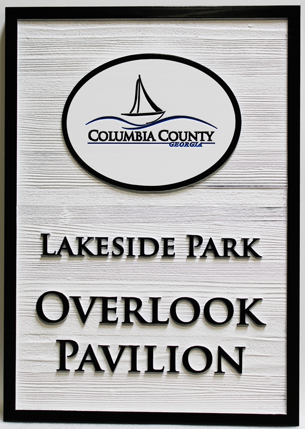GA16483 - Carved Western Red Cedar sign was made for Lakeside Park, in Columbia County, Georgiam with a Stylized Sailboat as Artwork