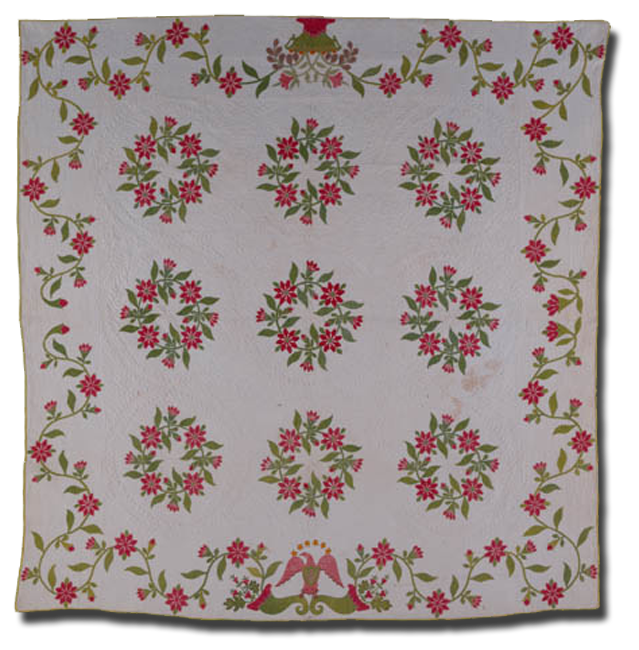 Wreath of Roses, made by Martha Allis Hollins, made in Nebraska Territory, dated 1860, 77 x 77 in, NQP 4058