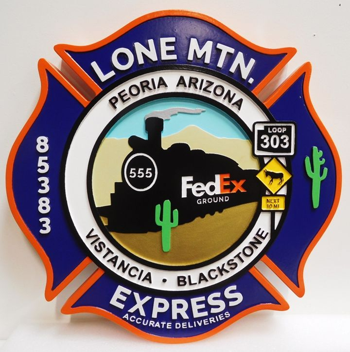 VP-1450 - Carved Plaque of the Logo of  the Lone Mountain Express, 2.5-D Artist-Painted