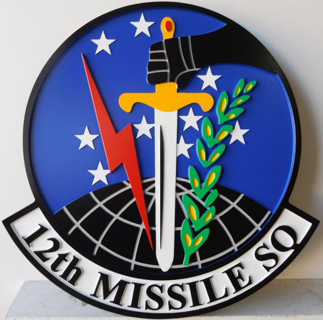V31630 - Carved Wall Plaque Featuring the Crest of the USAF12th Missile Squadron