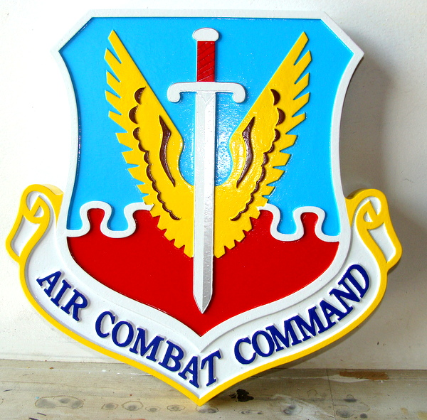 LP-1620 - Carved Shield Plaque of the Crest of the Air Combat Command, Artist Painted