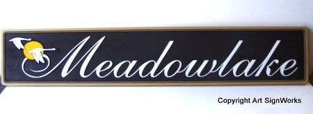 I18524- Elegant Property Name Plaque, Meadowlake,with Flying Geese