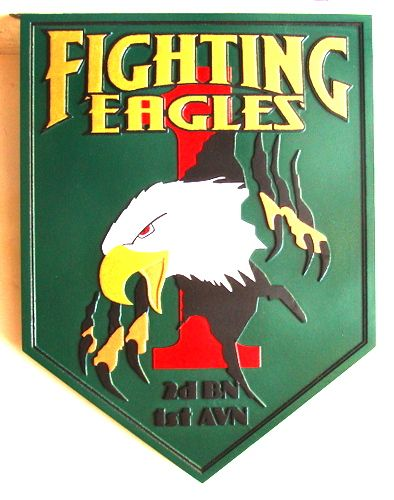 MP-2340 - Carved Wooden Wall Plaque of the Insignia for the Fighting Eagles, 2nd Battalion, First AVN, US Army, Artist Painted