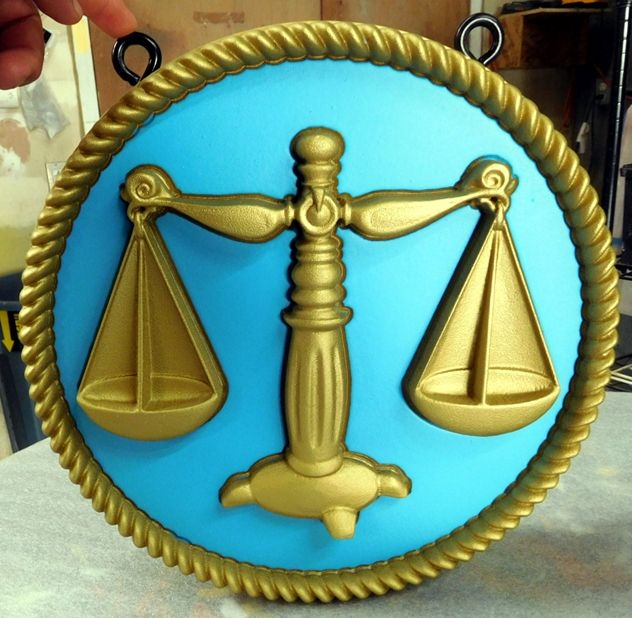 HP-1430 - Carved Plaque of Scales of Justice Symbol