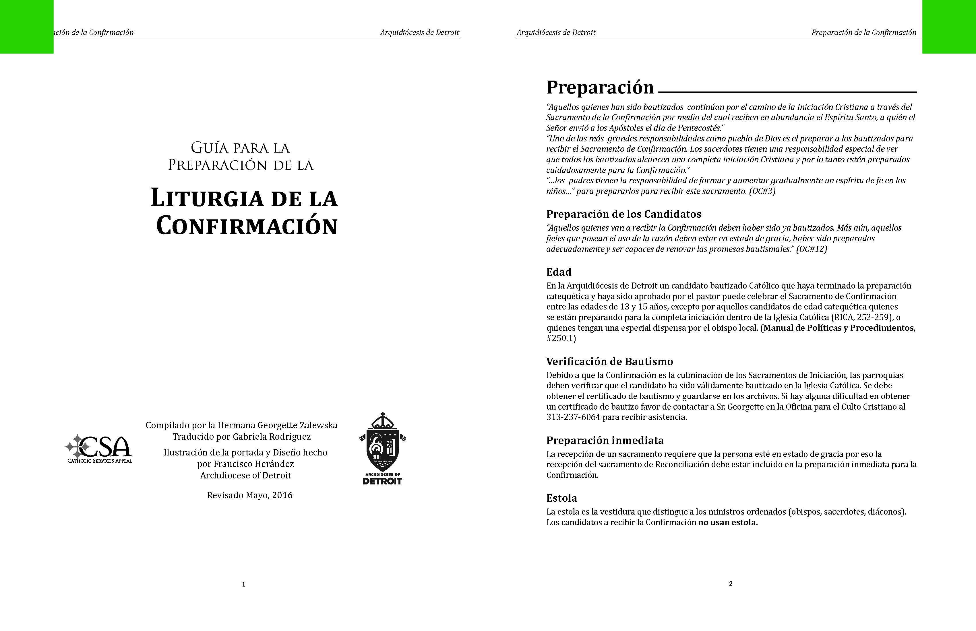 Guía para la Preparación de la Liturgia de la Confirmación